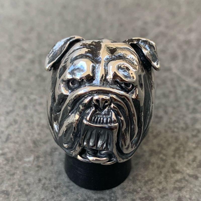 画像1: RUST LEATHER BULLDOG BOSS RING ラストレザー オリジナル ブルドッグ リング シルバー 925 スターリング ボス 指輪