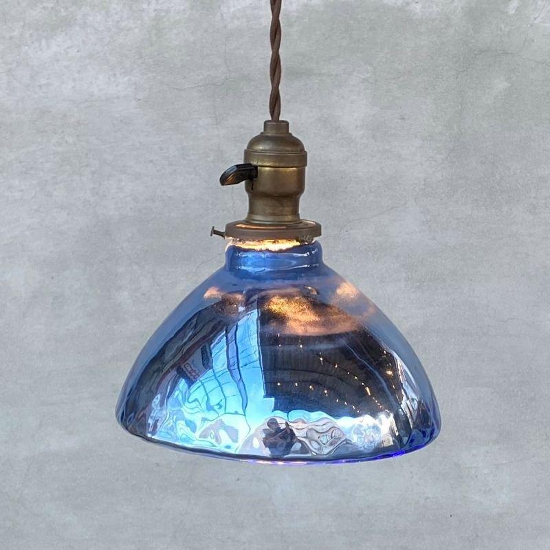 画像1: VINTAGE ANTIQUE MERCURY GLASS HUBBELL ヴィンテージ アンティーク マーキュリーグラス シェード ランプ アメリカ / インダストリアル コレクタブル ペンダントライト シーリングライト 吊り下げランプ 天井照明