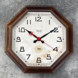 VINTAGE ANTIQUE NEW HEAVEN CLOCK CO.  WALL CLOCK ヴィンテージ アンティーク ウォールクロック / アメリカ 掛け時計 インダストリアル 八角形 木製
