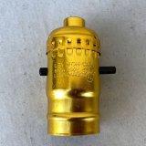 LEVITON LAMP SOCKET レビトン ソケット プッシュスイッチ / ランプ ライト 照明 リペアパーツ 真鍮色