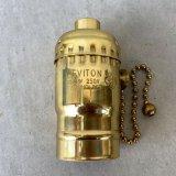 LEVITON LAMP SOCKET レビトン ソケット プルチェーンスイッチ ブラス / ランプ ライト 照明 リペアパーツ