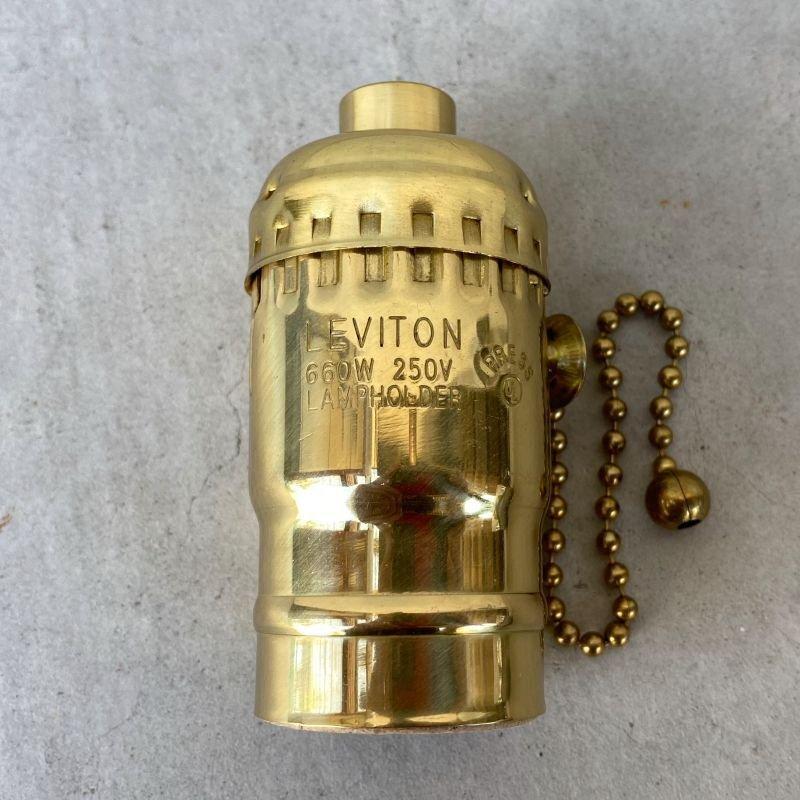 画像1: LEVITON LAMP SOCKET レビトン ソケット プルチェーンスイッチ ブラス / ランプ ライト 照明 リペアパーツ