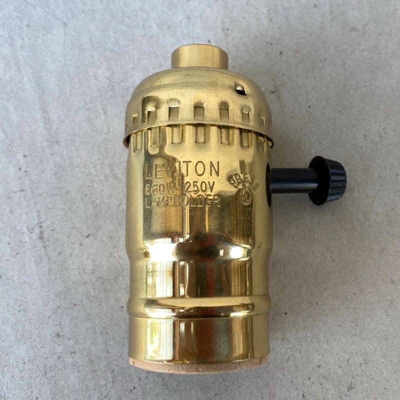 画像1: LEVITON LAMP SOCKET レビトン ソケット ターンスイッチ ブラス / ランプ ライト 照明 リペアパーツ